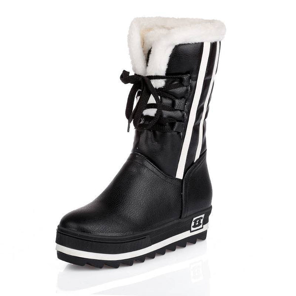 Plus Size 34-43 Women Waterproof 4 Colors Winter Full Fur Snow Boots