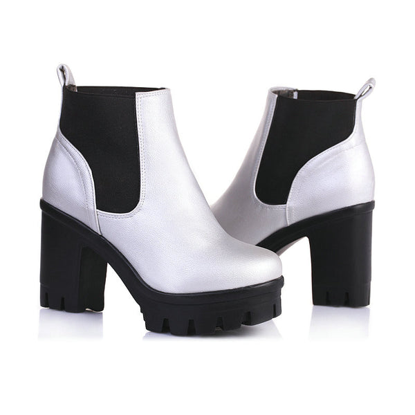 3 Color Winter Lace-up Sexy Women Ankle Boots Punk High Square Heels Black Buckle Plus Size 34-43