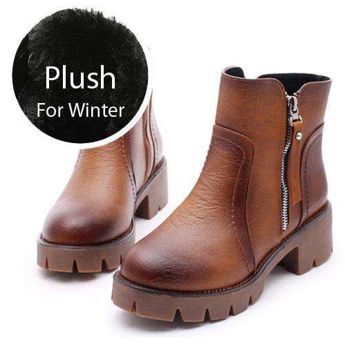 Women Plush Snow Autumn Winter Warm Fur Ankle Boots Waterproof 5cm Block High Heels