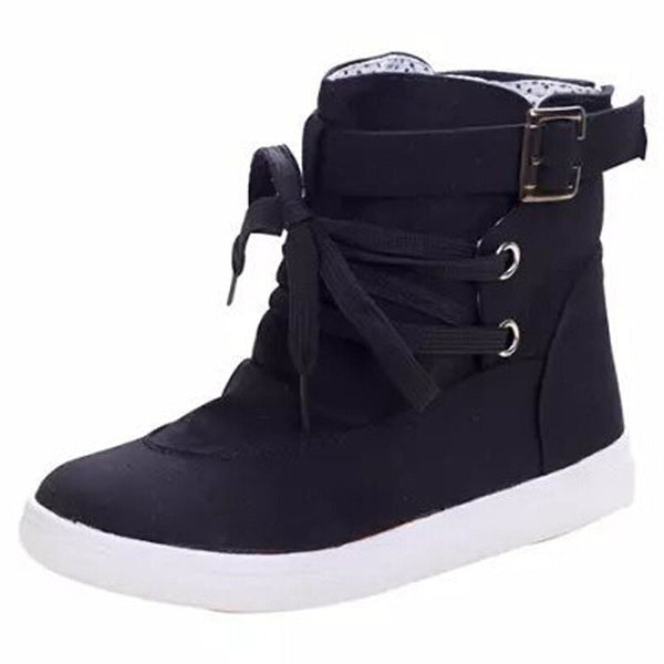 Women's Spring Autumn Charming Flats With Buckle Lace-Up Design Cute Solid Fashion Canvas Boots