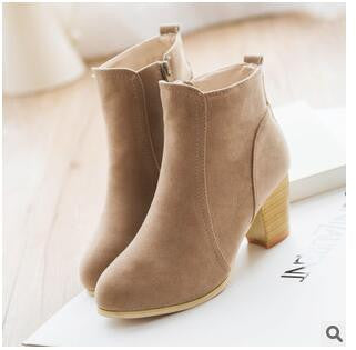 Autumn Winter Short Cylinder Ankle Boots With High Heels For Women With Thick Scrub