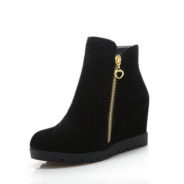 Winter Ankle Hidden Wedges Boots Design Zip Round Toe Women Western Boots