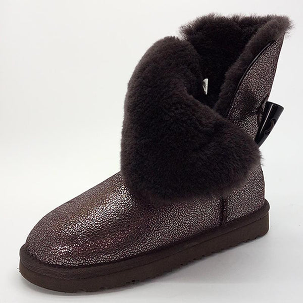Classic Waterproof Cowhide Genuine Leather Snow Boots Winter For Women