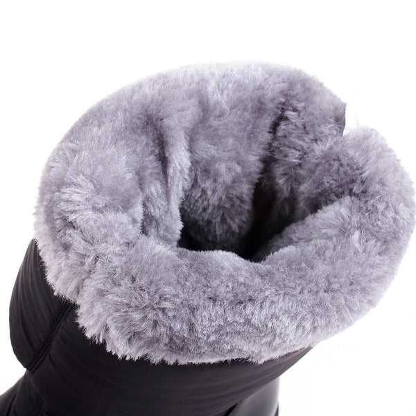 Plus Size 35-44 Women Winter Warm Cotton Down Waterproof Snow Fur Platform Knee High Boots