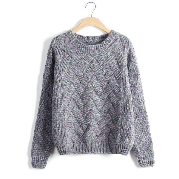 Pull Autumn Winter Sweaters And Pullovers Plaid Thick Knitting Mohair Sweater Loose Variegated
