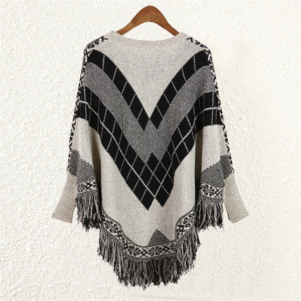 Poncho O-Neck Spell Jacquard Tassel Cloak Sweater Batwing Pullovers Spell Jacquard Fringed Knitwear