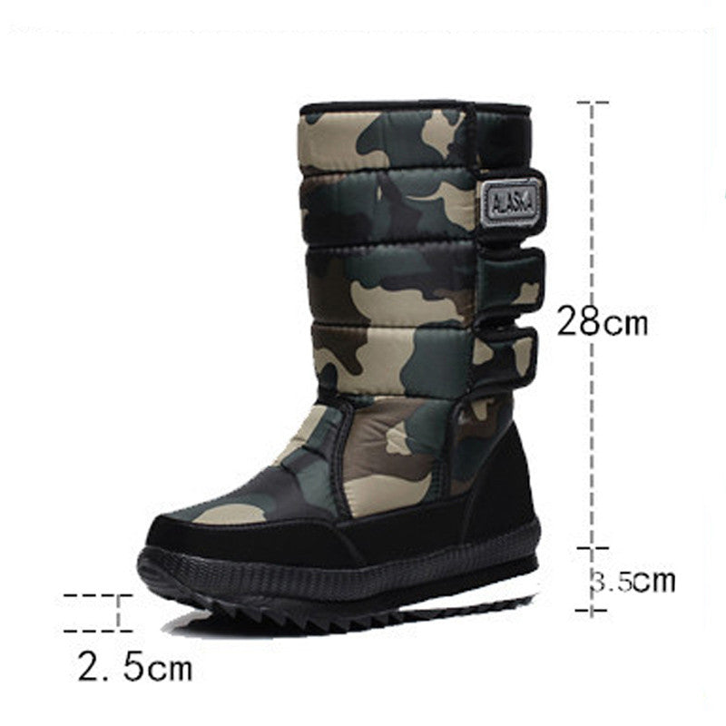 14aac197811 Winter Warm Men's Thickening Waterproof Military Desert Male Knee-high Snow  Boots Outdoor Hunting