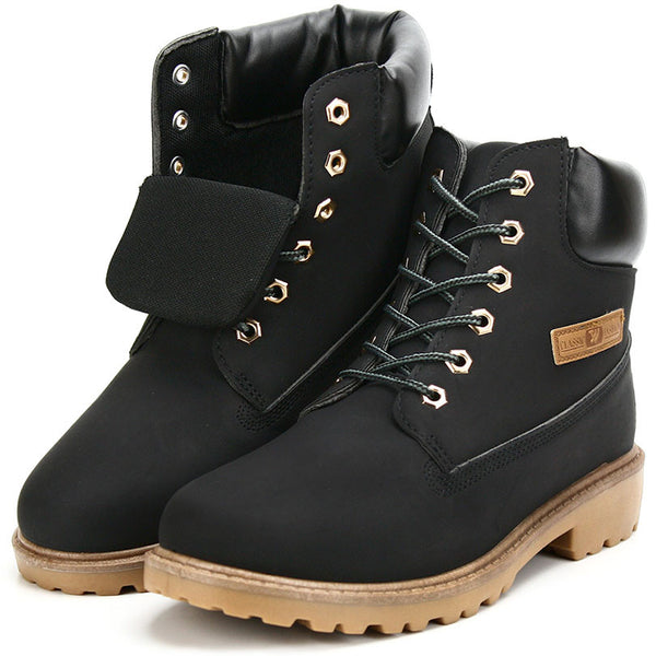 Autumn Winter Women Leather Lace-up Ankle Boots