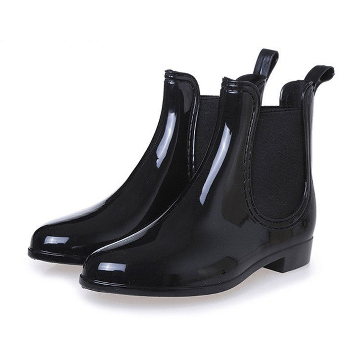 Rain Boots Pointed Toe Women Rubber Boots Slip On Ankle Boots Casual Platform Rainboots