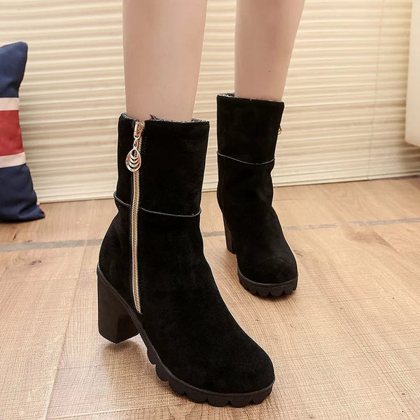 Winter Flock Inside Ankle Casual Woman Sexy High Heels Warm Boots