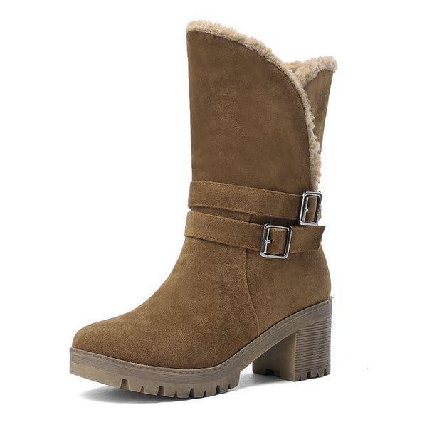 Women Western Style Ankl Round Toe Winter Warm Women Square Platform Snow Boots
