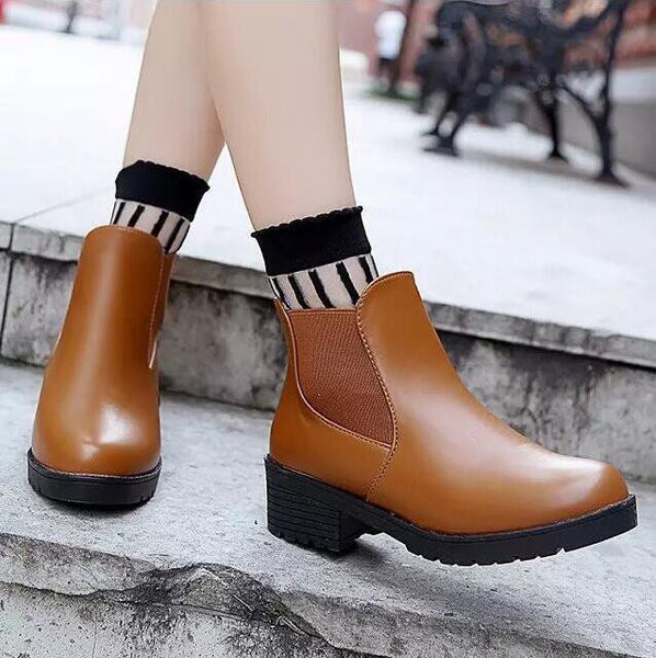 Autumn And Winter Head Thick Bottom Pu Leather Waterproof Woman Martin Snow Boots Round