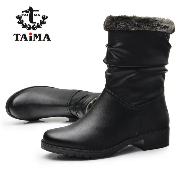 Winter Women Warm PU Leather Snow Female Round Toe Mid-Calf Fashion Flats Boots