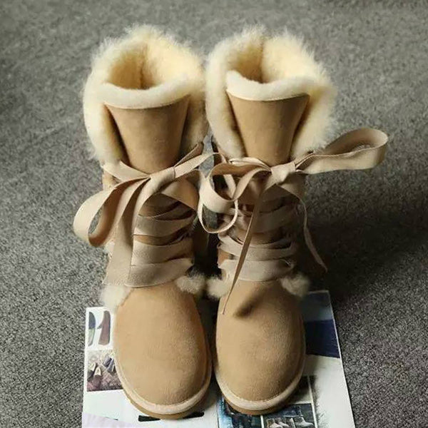 High Snow Women 100% Genuine Sheepskin Leather Lace Up Long Natural Fur Warm Wool Winter Boots