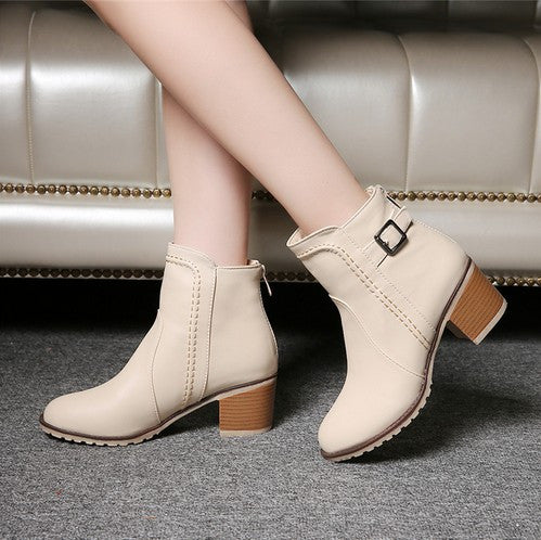 Plus Size 34-43 Autumn Winter Short Cylinder High Heels Boots Women Zipper Leather Ankle Boots