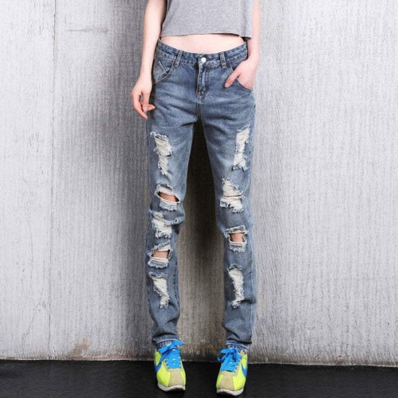 Women's Loose Plus Large Size Ripped Jeans Lady's Boyfriend Jeans Female Casual Hole Denim Pants
