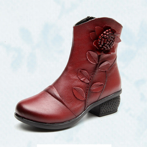 Women's Fashion Winter Warm Genuine Leather Ankle Boots Oblique Zipper Floral Boots Red Black Blue