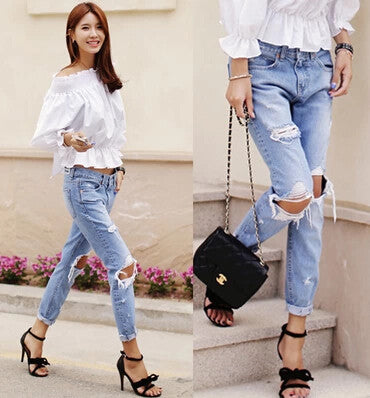 Denim Jeans Pants Women Big Hole Ripped Designer Jeans Spring Summer Capris Pencil Pants S M L