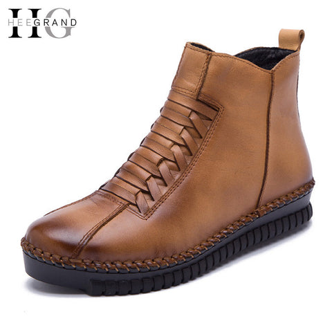 Genuine Leather Women Autumn Winter Ankle Creepers Casual Shoes Slip On Flats Boots