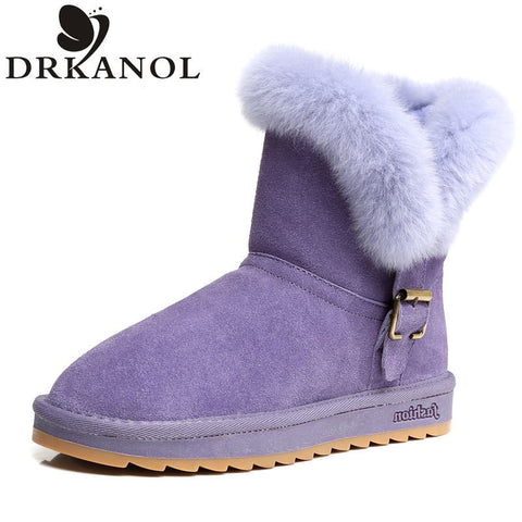 Women Winter Australian Genuine Leather Snow Boots Warm Comfortable Mid-Calf Flat With Round Toe