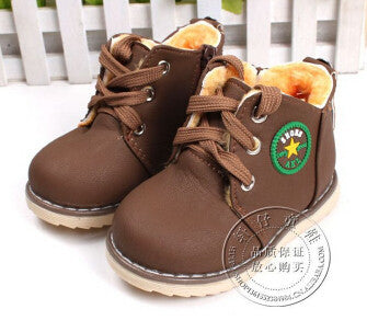 Children's Snow Warm Thick Cotton-padded Ace-up Comfort Baby Boots Size 21-30