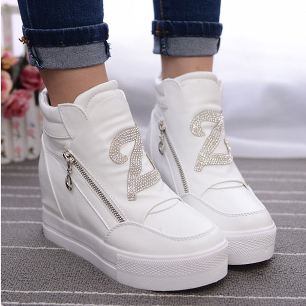 Women Wedge Concealed Heel High Ankle Boots Lace-Up Rhinestone Boots Zipper Size 35-39