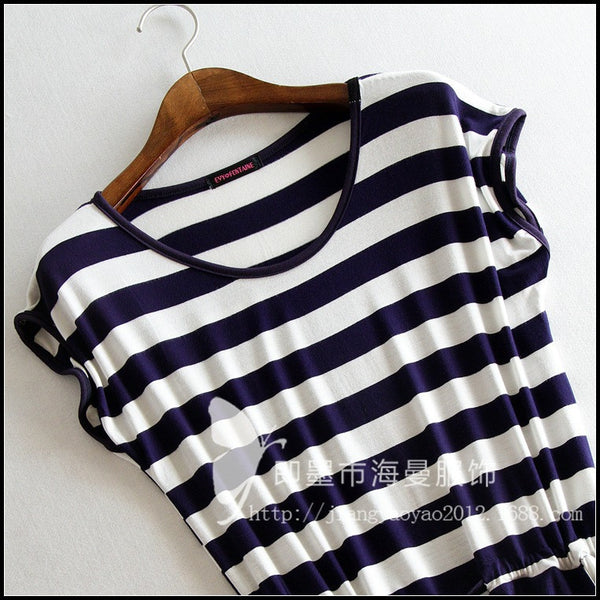 Summer Casual Stripe Women Summer Tank Sleeveless Dresses Casual Solid Color