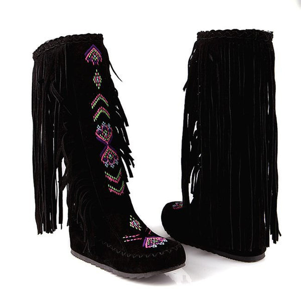 Women Flock Tassel Knee Long Causal High-heeled Boots High Quality Red Black Brown