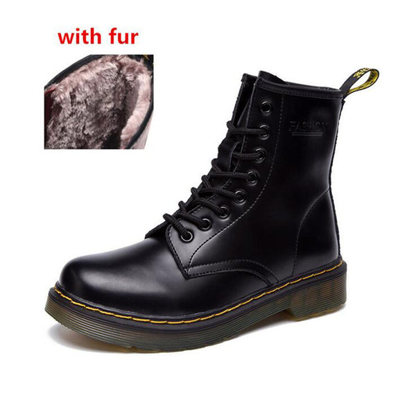Women Vintage Classic Genuine Boots Female Thick Heel Motorcycle