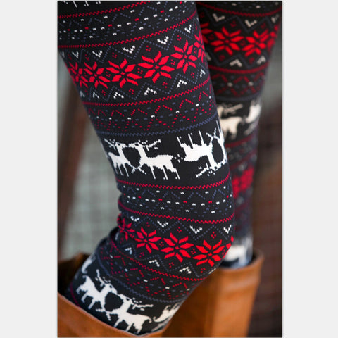 Autumn Christmas Series Family Matching Outfits No Fleece Stretch Snow Reindeer Tight Leggings