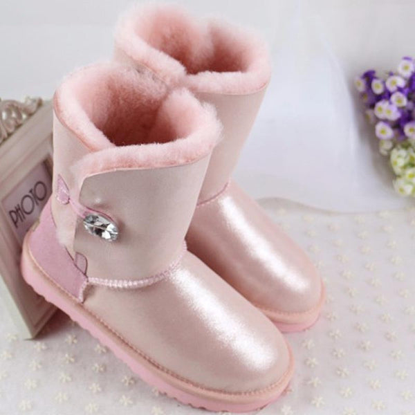 High Quality Genuine Sheepskin Real Fur 100% Wool Women Winter Snow Boots