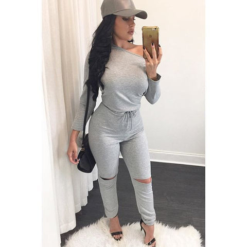 Women Bodycon Jumpsuit Long Sleeve Sexy Club Ladies Rompers Bandage Elastic