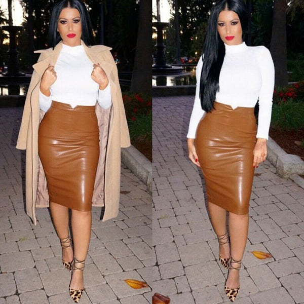 Women Rayon PU Faux Leather Stretch Sexy Maxi Skirts Womens High Waisted Midi Long Pencil Skirt