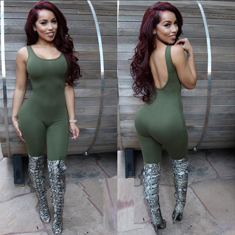 Women Bodysuit Rompers Jumpsuits Sleeveless Sexy Backless Full Length Jumpsuits Apparel Plus Size