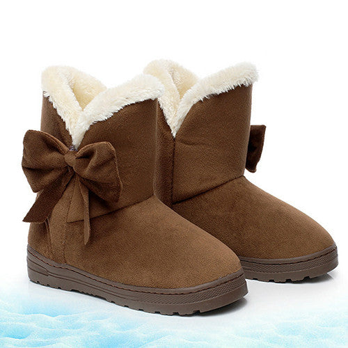 Solid Color Bow Winter Women Snow Boots Soft Comfortable Round Toe