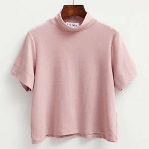 Crop Top Spring Summer T-shirts Women Macarons Color Split Kawaii Bottoming Tshirt