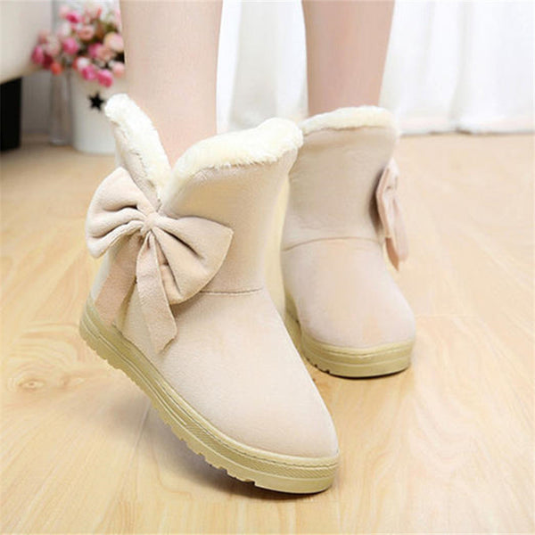 Women Winter Ankle Snow Boots Warm Australia Bowtie
