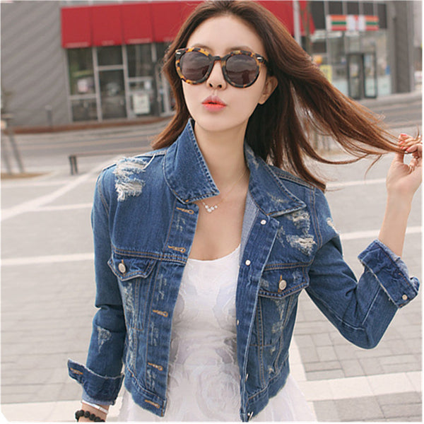 Spring Womens Denim Jacket Distressed Crop Outerwear Coat Worn White Washed Short Jean Jacket