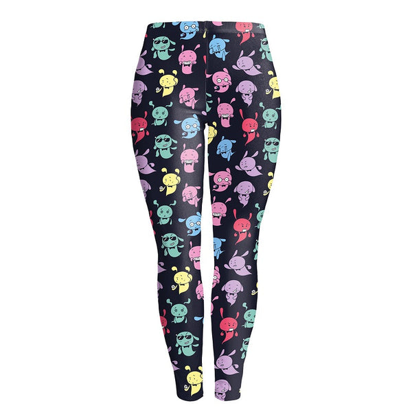 Autumn Women Cute Cartoon Colorful Black Printed Shinny Legging High Elastic