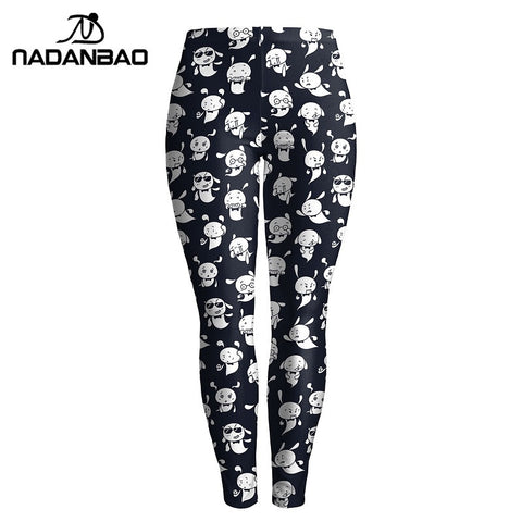 Autumn Women Cute Cartoon Black And White Printed Shinney Legging High Elastic