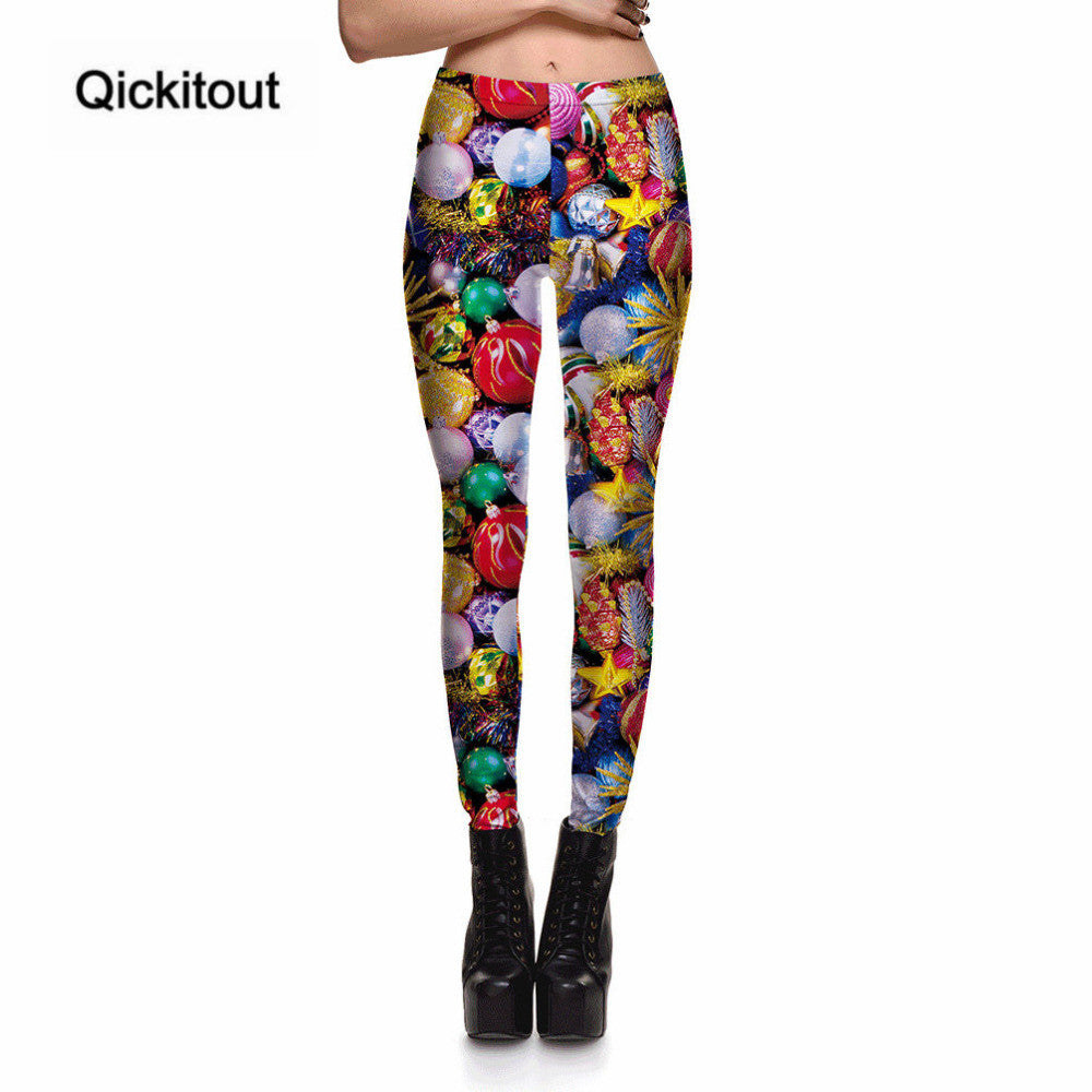 Merry Christmas Festival Sales Women's Sweet Candy Shambhala Ball Leggings Digital Print