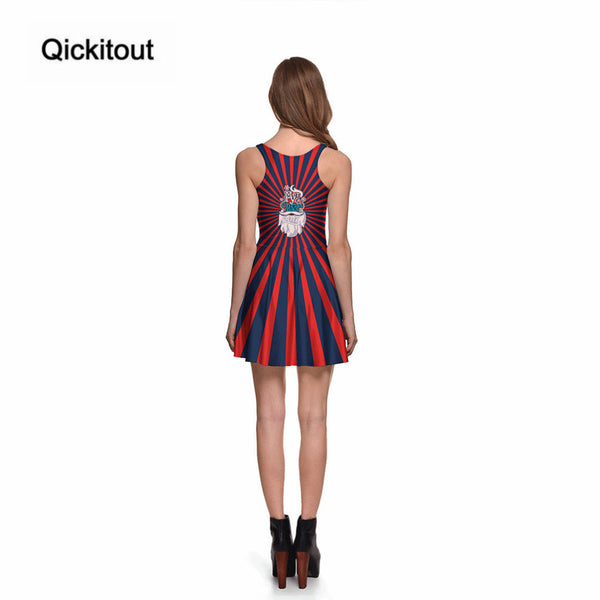 Merry Christmas Hot Women's Red & Black Striped Santa Claus Dresses Digital Print