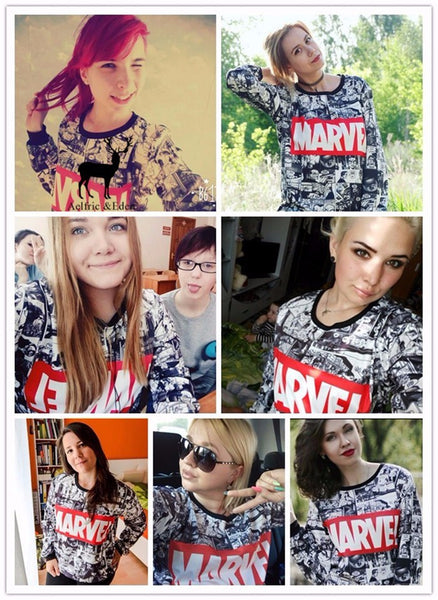 Marvel Moletom Hoodie Sweatshirts Tracksuit Harajuku Black Sweatwear for Women