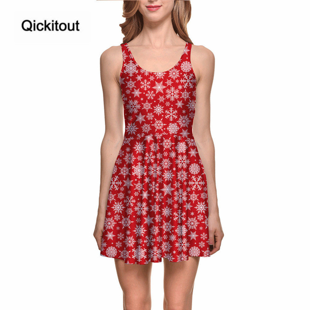 Merry Christmas Women's Pretty Snowflake Galaxy Red Dresses Digital Print