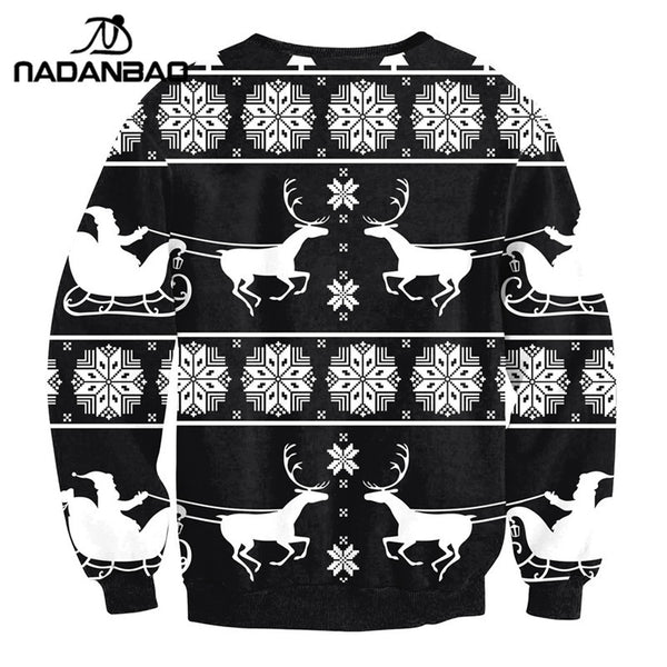 Autumn Hoodies Sweatshirts Christmas Printed Tracksuit O-neck Long Sleeve Woman Clothing