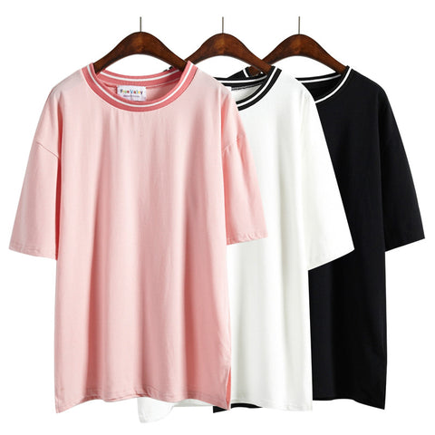 Plus Size Summer Style T-shirt Pink Rock Women Tops Couple Clothes
