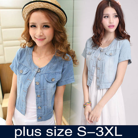 Women Round Neck Short Denim Jean Jacket Coat Half Sleeve Button S M L Xl Xxl 3xl