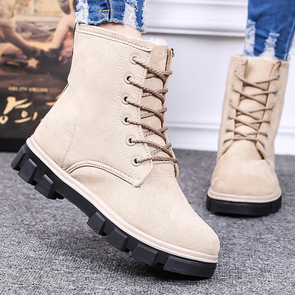 Winter Casual Moccasins Women Flat Handmade Warm Boots Plus Size 35-40