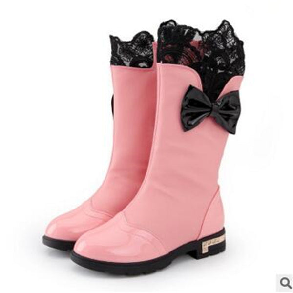 Autumn Winter Female Child Children Cotton-padded Snow High Boots