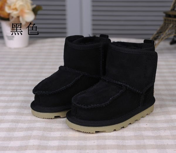 Real Goat Fur Baby Boy Winter Snow Boots Children Geanuine Leather Australia Boots 1-4 Age